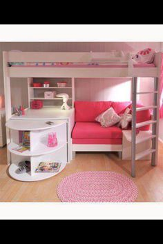 Dream House Desk Bunk Bed All In One Loft Bed Teen! I LOVE THIS! If My Girls  Didnt Share A Room This Is What I Would Do For Them