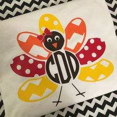 Monogrammed Turkey Short Sleeve Shirt Thanksgiving Fall Shirt ($20) ❤ liked on…