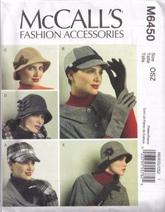 McCalls 6450 Sewing Pattern Womans Bucket Hat, Riding Cap, Flapper, Cloche, Gloves. $7