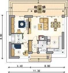 Small Custom Home Designs With A Usable Area Under 78 Square Meters Custom Home Designs, Custom Homes, Atrium, One Floor House Plans, Small Bungalow, Vintage House Plans, Story House, Studio, New Homes