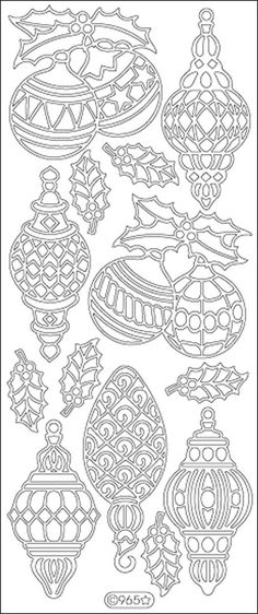 Christmas Ornaments/Lamps Peel-Off Stickers-Silver - Harvey & Haley