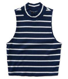 Striped Mock-Neck Bodycon Crop Top -