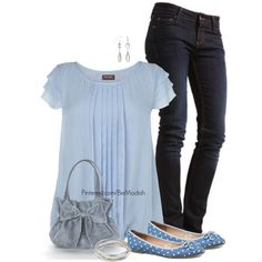 A fashion look from April 2014 featuring Phase Eight blouses, MUSTANG jeans and Express flats. Browse and shop related looks.