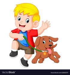 Little boy running with dog vector image on
