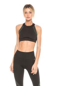 c131ef87b1f79 High neck crop top sports bra - Black Jade Peach sheen - Stretch