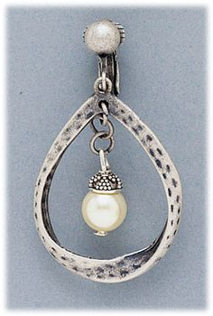 Simply Whispers hypoallergenic and nickel free Jewelry Earrings clip on antiqued silver teardrop with pearl Whisper, Antique Silver, Jewelry Making, Pearls, Personalized Items, Antiques, Earrings, Free, Beautiful