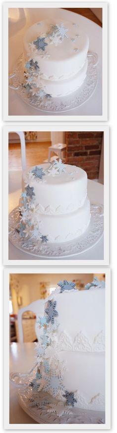 Home made snowflake winter cake