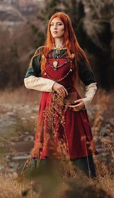 Vestido de vikingo Vestido de Freya delantal de