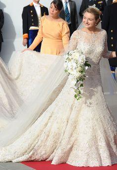 Stéphanie de Lannoy con un vestido que fue diseñado por el libanés Elie Saab