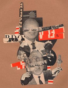 "Rodrigo Gárate Chateau. Parte de la serie ""MINISTROS ALTERADOS"" (2015). Recortes tipográficos y fotográficos rescatadas de la nómina de ministros del gobierno de Eduardo Frei Montalva, Chile 1964."