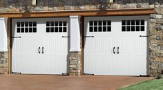 Looks can be deceiving. From a distance, you see an authentic carriage house door. Up close, they go up and down like traditional garage doors. Available in Steel and Wood from Amarr Garage Doors. Carriage Style Garage Doors, White Garage Doors, Double Garage Door, Diy Garage Door, Garage Door Styles, Wood Garage Doors, Carriage Doors, Garage Door Design, Garage Ideas