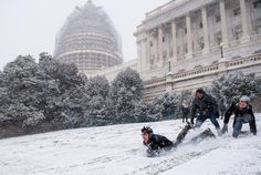 About a dozen sledders, young and old, took to the slopes of the West Front of the Capitol Friday.
