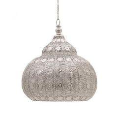 Metallic ceiling lamp in silver with beautiful elaborate design. Lighting System, Bar Lighting, Pendant Lighting, Chandelier, Lighting Ideas, Wall Lights, Ceiling Lights, Arabesque, Ceiling Lamp
