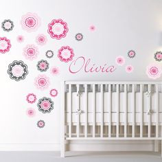 Alphabet Garden Designs Blushing Blooms Wall Decal Vinyl Color: Dark Turquoise, Decal Fabric Color: Lilac