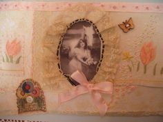 Vintage fabric collage horse and lady picture hand embroidered stitched  handmade