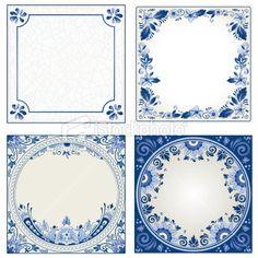 Kineren zelf een tegel laten tekenen/schilderen met verschillende tinten blauw - Delft blue