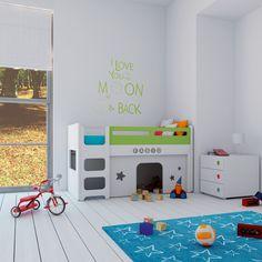 Cunas convertibles en literas con  cabañas de juegos... Habitaciones infantiles de ensueño