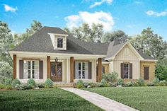 <ul><li>This beautiful 3 bed Acadian house plan has an elegant exterior with an inviting front porch.</li><li>The formal foyer and dining space open into a large open living area with raised ceilings and brick accent wall.