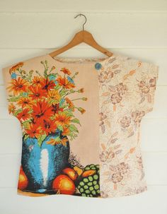 Idea: like the mix of prints hereUpcycled Womens Shirt Top Blouse Petite Vintage by apieceofpie, $72.00