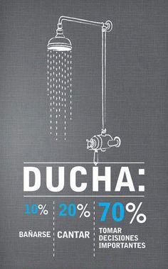 En la ducha el 10% es bañarse, el 20% cantar y el 70% tomar decisiones importantes #creatividad