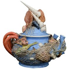 Sea Creatures Majolica Tea Pot By Christine Viennet