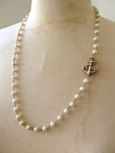 Pearl and Anchor necklace.... nautical chic!