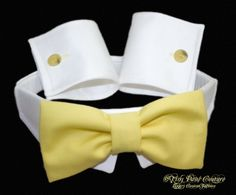 Designer Dog Collar , Bow Tie, and Cuffs, Formal, Buttercup Tie, White Collar cuffs. $36.95, via Etsy.