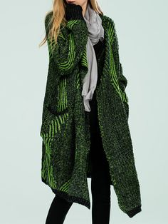 //Green Wool Blend Geometric Casual Cardigan online. Discover unique designers fashion at StyleWe.com.
