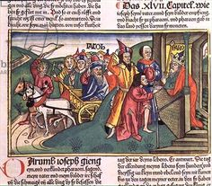 Genesis 46 28-47:12 The Settlement in Egypt, from the 'Nuremberg Bible (Biblia Sacra Germanaica)' (coloured woodcut), 1483