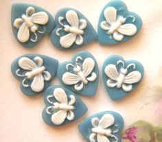 8 Vintage Blue and White Butterfly Heart Cabochon Cameo - Etsy Beadpodge $3