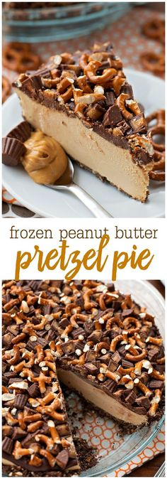 Frozen Peanut Butter Pretzel Pie - an AMAZING frozen dessert consisting of a graham cracker and pretzel crust frozen peanut butter filling topped with chocolate pretzels and peanut butter cups. The most perfect salty and sweet combination!!
