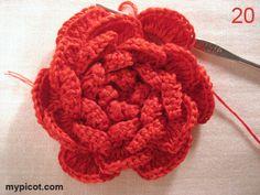 Crochet Flower Motif - Free Crochet Pattern - (mypicot)