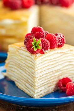 This crepe cake is beautiful and delicious! The fail-proof blender crepes recipe makes this the easiest 30 layer cake you'll make! Crepe Recipes, Easy Cake Recipes, Baking Recipes, Sweet Recipes, Dessert Recipes, Pancake Recipes, Waffle Recipes, Breakfast Recipes, Strawberry Crepes