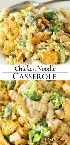 This cheesy Chicken Noodle Casserole is an easy dinner idea that you can make 2 days ahead of time! It makes a perfect recipe for leftover rotisserie chicken. #recipeswithchicken #makeaheadmeals #freezermeals