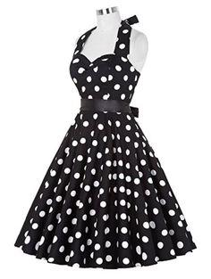 $22.00 Vintage Polka Dot Halter Swing Dress
