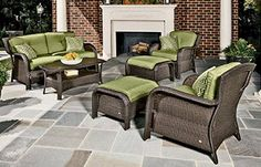 """Enjoy your new """"family room""""! The Strathmere outdoor lounge set includes: 1 cushioned loveseat, 2 cushioned arm chairs, 2 cushioned ottomans, and 1 glass-top coffee table, all handwoven wicker over steel frames. Six color choices including cilantro (shown). Online only. #shopko"""