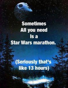 Wenn ihr jetzt beginnt, seid ihr morgen Mittag fertig - und die echten Fans schauen dann noch die beiden Ewok-Filme, Lego Star Wars und TCW! http://www.jedipedia.net/wiki/Kategorie:Filme