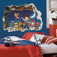 Paw Patrol Snow Wall Sticker decal room decoration fat head style pvc poster