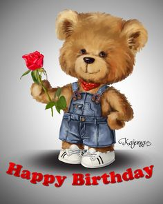 Teddy-bear on Behance Happy Birthday Vintage, Happy Birthday Kids, Happy Birthday Flower, Birthday Cheers, Happy Birthday Pictures, Happy Birthday Wishes Quotes, Birthday Blessings, Birthday Greetings, Birthday Clips
