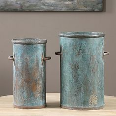 Uttermost - Barnum Tarnished Copper Cans Set of 2 - 19980 Vintage Milk Can, Celadon, Rustic Home Interiors, Milk Cans, Decorative Objects, Home Accents, Home Accessories, Pottery, Canning