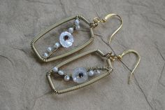 Gold Wire Wrapped Earrings Nature Inspired Ivory by ForestBeads, $39.99