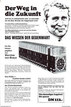 Werbung - Original-Werbung/ Anzeige 1970 - 2-SEITIG: WERNHER VON BRAUN / DAS WISSEN DER GEGENWART - ca. 160 x 230 mm