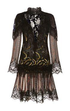 Striped Paisley Long Sleeves High Neck Lace Dress by Rodarte for Preorder on Moda Operandi