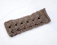 Brown Sparkle Crochet Head Band  Ear Warmer  by KidaliaKrochet