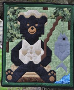 Fishing Bear Quilt Pattern CQ-054 (advanced beginner, baby, wall hanging, lap and throw)