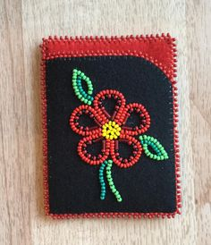Card case that I made! I have been really liking beading with red lately. Definitely one of my faves :) Carmen Dennis-Tahltan Loom Beading, Beading Patterns, Embroidery Patterns, Native Beadwork, Native American Beadwork, Loom Craft, Ribbon Skirts, Beadwork Designs, Native American Crafts