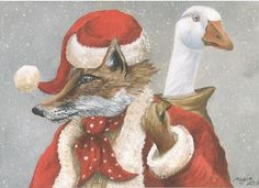 Mr Fox and Mrs Goose Greeting Card by Maggie Roberts