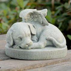 Dog Angel Pet Memorial Stone Grave Marker Headstone