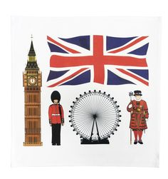 Set of 4 quality Iconic London Design reusable cotton table napkins/serviettes. Featuring the Union Jack, Big Ben, London Eye, Horse Guard and Beefeater. Hand printed in the UK. Machine washable, and a generous 39 x 39 cm in size. From the Half a Donkey Orignal Line Range www.halfadonkey.co.uk