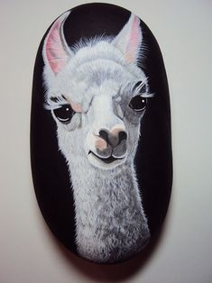 Hand painted Llama on river rock. © 2012 Maggie Stoller